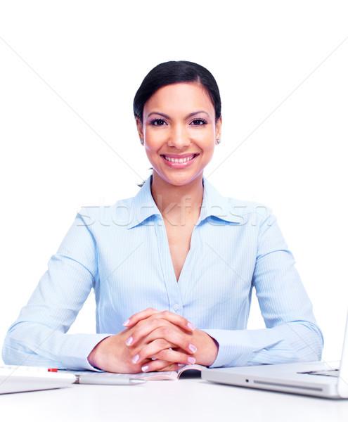 Boekhouder zakenvrouw geïsoleerd witte vrouw gezicht Stockfoto © Kurhan