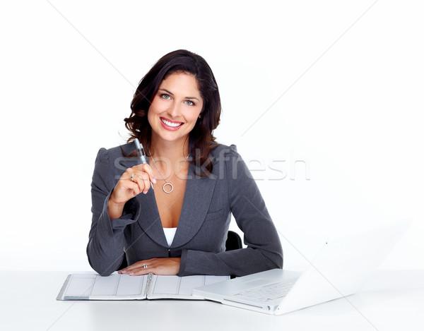 Mulher de negócios retrato feliz jovem isolado branco Foto stock © Kurhan