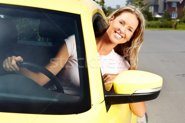 ストックフォト: 女性 · 車 · ドライバ · 小さな · 美人 · 新しい