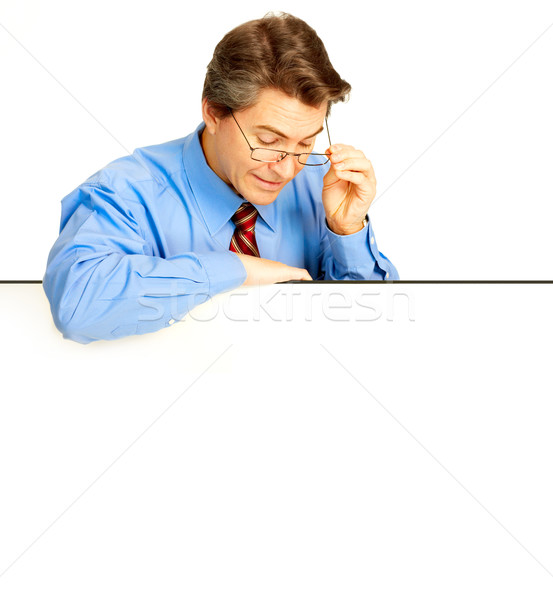 Empresario maduro sonriendo aislado blanco negocios Foto stock © Kurhan