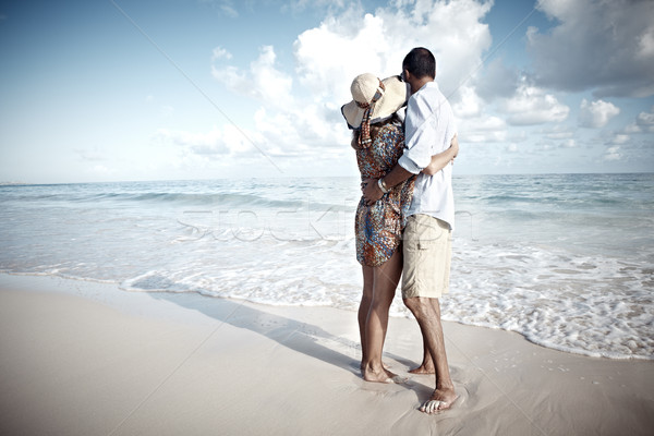 Loving couple looking the ocean Stock photo © Kurhan