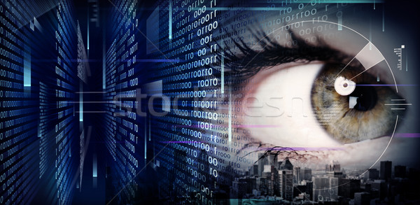 Mulher olho techno abstrato tecnologia Foto stock © Kurhan