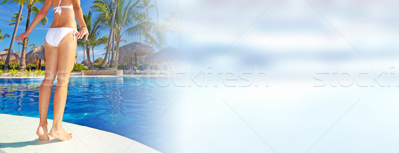 Woman near the pool Stock photo © Kurhan