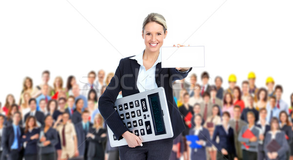 Comptable femme d'affaires grand simulateur femme Photo stock © Kurhan