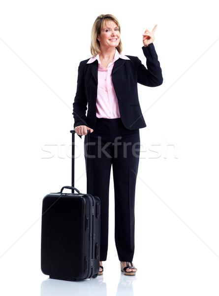 Foto d'archivio: Sorridere · donna · d'affari · valigia · isolato · bianco · business