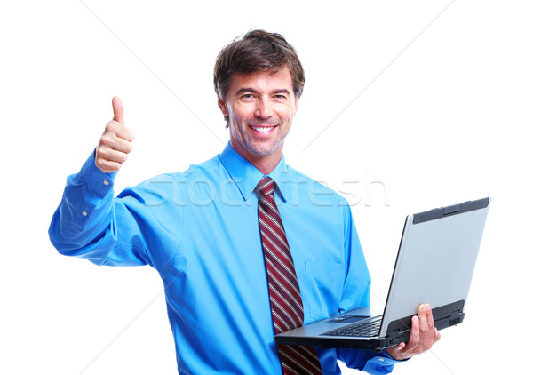 Uitvoerende zakenman laptop geïsoleerd witte computer Stockfoto © Kurhan