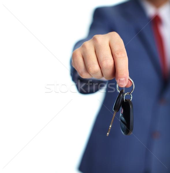 Araba anahtarları el yalıtılmış beyaz araba adam Stok fotoğraf © Kurhan