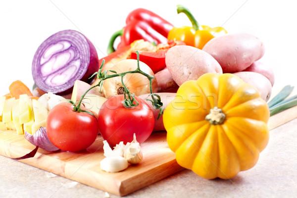 ストックフォト: キッチン · 料理 · ジャガイモ · ナイフ · まな板 · 表