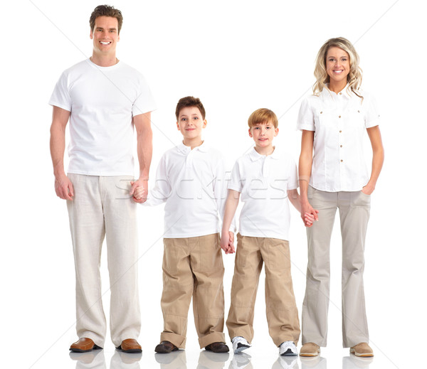 Stock foto: Glückliche · Familie · Vater · Mutter · Kinder · weiß · Frau