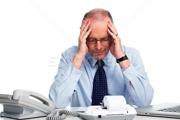 зрелый бизнесмен головная боль деловой человек бухгалтер бизнеса Сток-фото © Kurhan