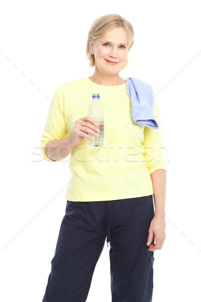 Stock fotó: Tornaterem · fitnessz · mosolyog · idős · nő · izolált · fehér