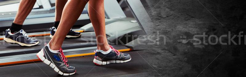 Lábak futópad csoportkép fut nő férfi Stock fotó © Kurhan