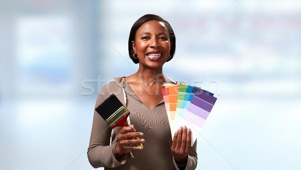 Ház rendbehoz mosolyog nő festmény építkezés Stock fotó © Kurhan