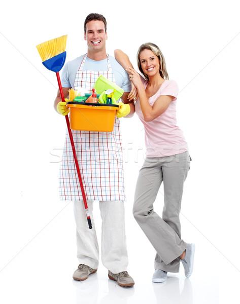 Cleaner man and woman. Stock photo © Kurhan