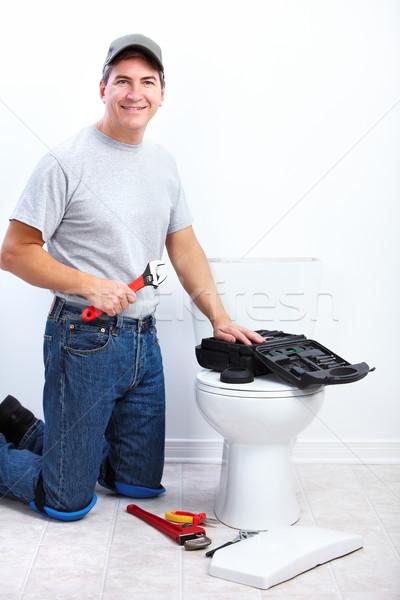 Professionelle Klempner WC Wiedergutmachung Sanitär Reparatur Stock foto © Kurhan
