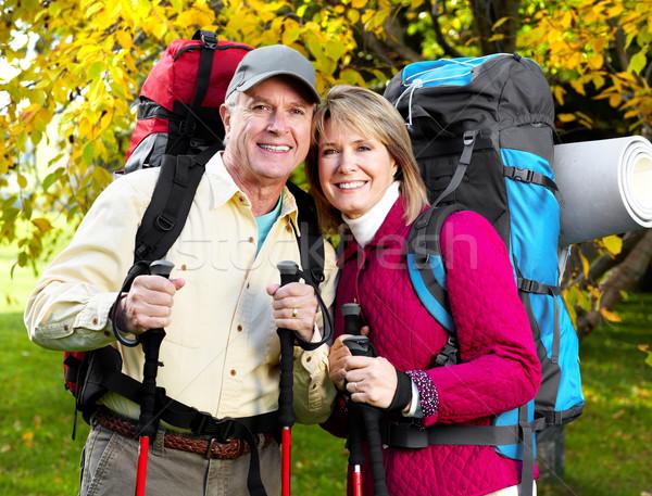 Foto stock: Senior · turistas · casal · caminhadas · parque · mulher