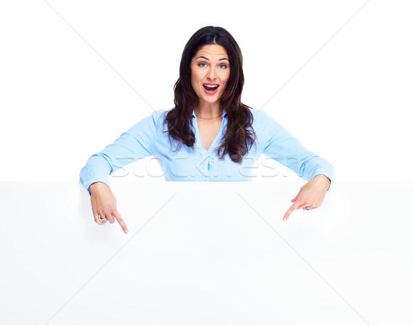 Сток-фото: счастливым · женщину · баннер · изолированный · белый · бизнеса