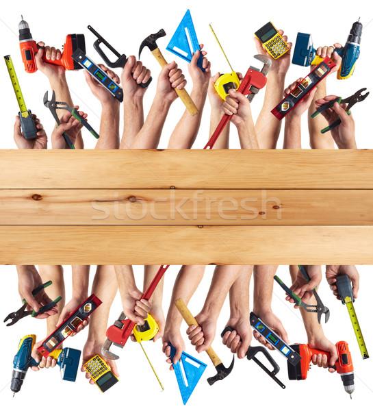 рук инструменты набор коллаж изолированный Сток-фото © Kurhan