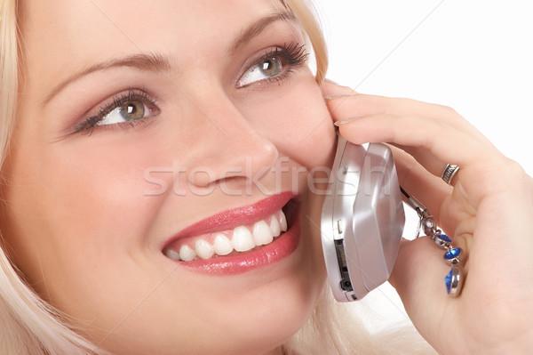 Stockfoto: Vrouw · cellulaire · aantrekkelijk · jonge · vrouw · roepen · mobieltje