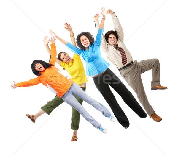 Foto stock: Pessoas · felizes · feliz · engraçado · pessoas · isolado · branco