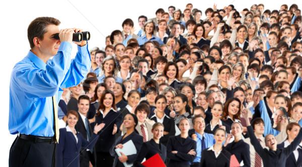 Humanismo recursos empresário binóculo olhando pessoas de negócios Foto stock © Kurhan