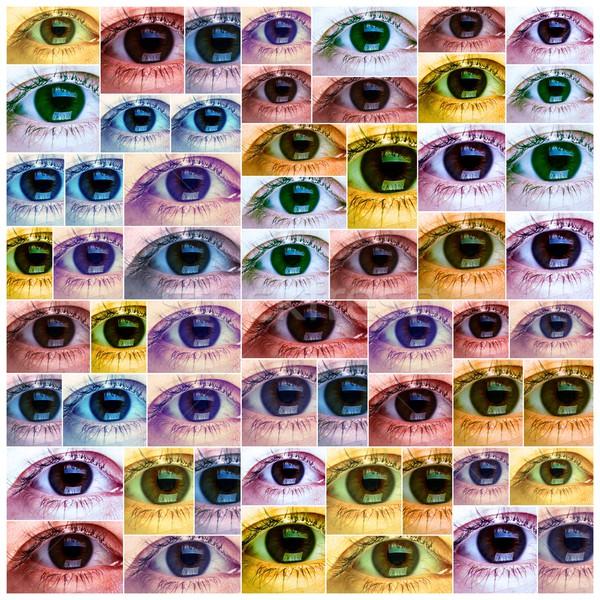 Piękna kobieta oka kolaż piękna młoda kobieta oczy Zdjęcia stock © Kurhan