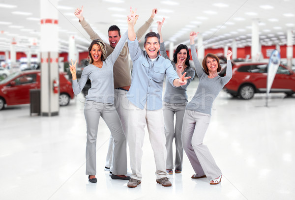Happy people group near new cars. Stock photo © Kurhan