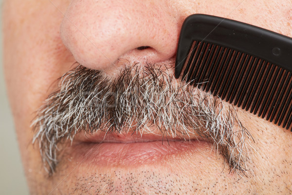 Man combing his mustache. Stock photo © Kurhan