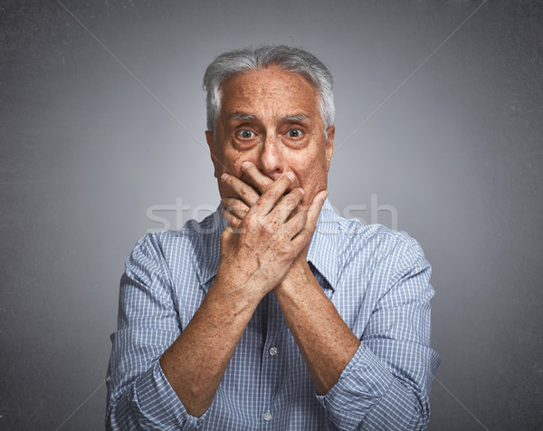 Scared afraid senior man fear. Stock photo © Kurhan