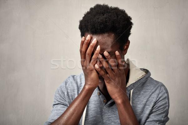 депрессия депрессия черным человеком головная боль серый стены Сток-фото © Kurhan