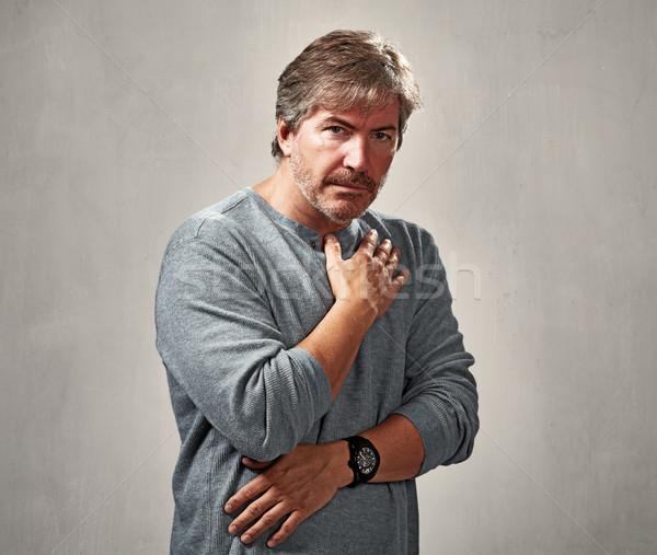человека депрессия портрет серый стены стороны Сток-фото © Kurhan