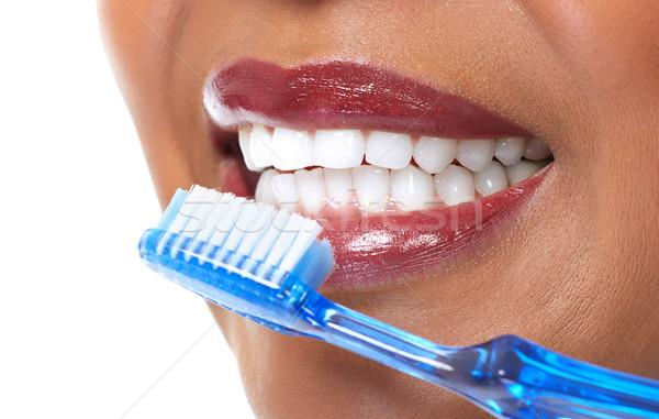 女性 歯ブラシ 美しい アフロ アメリカン 女性の顔 ストックフォト © Kurhan