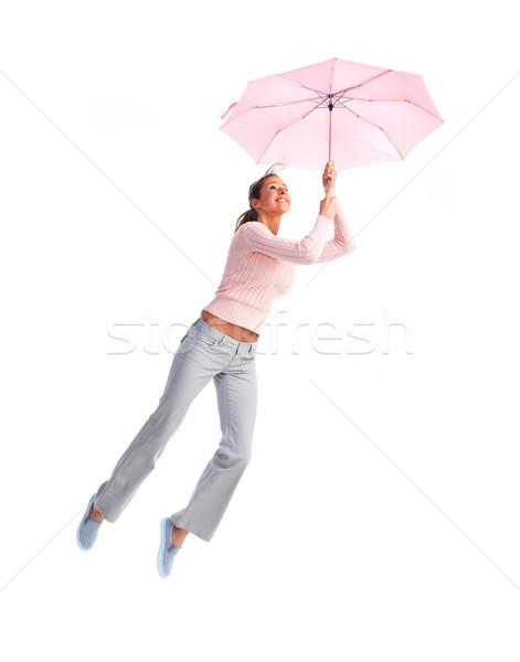 Mulher voador guarda-chuva feliz isolado branco Foto stock © Kurhan