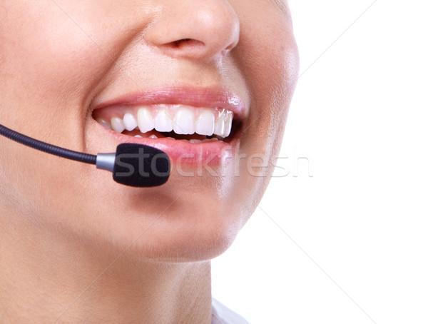 Call center secretário mulher isolado branco sorrir Foto stock © Kurhan