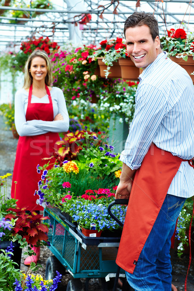 люди, работающие питомник садоводства женщину семьи девушки Сток-фото © Kurhan
