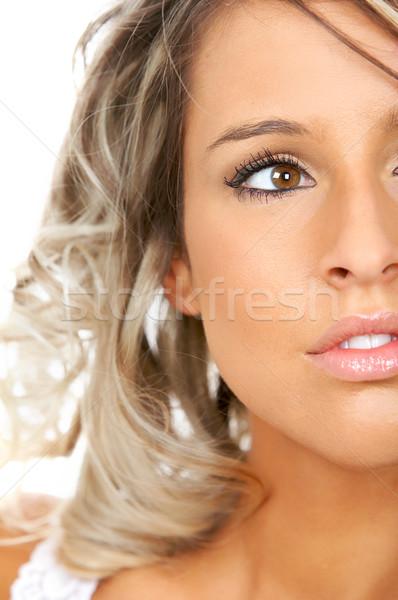 Beautiful stunning young woman. Over white background Stock photo © Kurhan