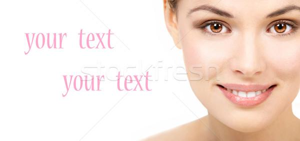 красивой улыбаясь изолированный белый женщину Сток-фото © Kurhan