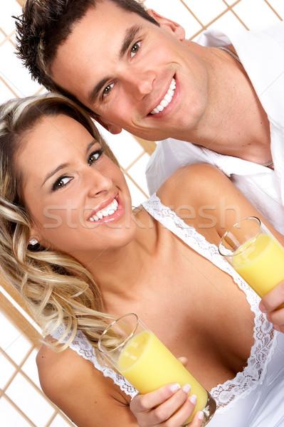 любви пару молодые питьевой оранжевый женщину Сток-фото © Kurhan