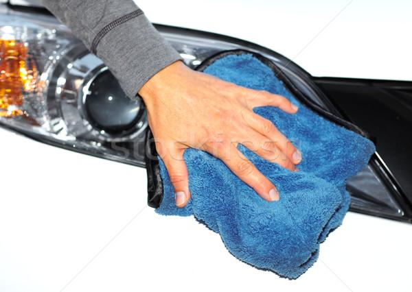 Autó mosás kéz ruha gyantázás fehér Stock fotó © Kurhan