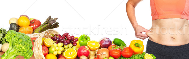 Femme ventre grasse Homme abdomen fruits Photo stock © Kurhan