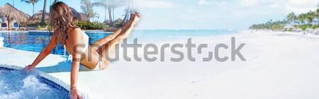 Woman sunbathing on the beach Stock photo © Kurhan