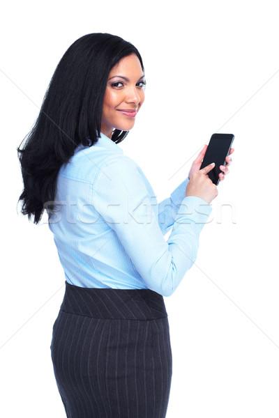 美しい ビジネス女性 孤立した 白 ビジネス 幸せ ストックフォト © Kurhan