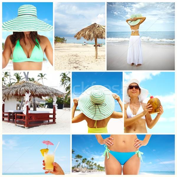 Exotisch luxe resort collage mooie vrouw bikini Stockfoto © Kurhan