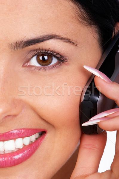 Kobieta komórkowej atrakcyjny działalności młoda kobieta wzywając Zdjęcia stock © Kurhan