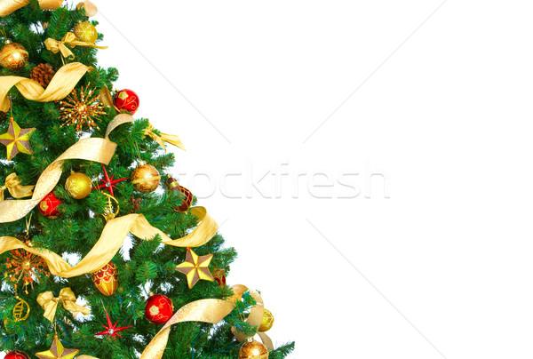 Stok fotoğraf: Noel · ağacı · dekorasyon · beyaz · ağaç · parti · arka · plan