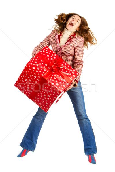 Stockfoto: Gelukkig · vrouw · christmas · aanwezig · witte · achtergrond