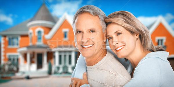 Couple de personnes âgées heureux couple nouvelle maison résidentiel Photo stock © Kurhan