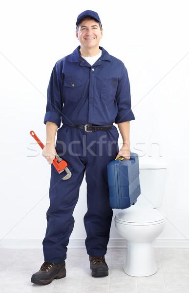 Vízvezetékszerelő érett férfi építkezés munka munkás Stock fotó © Kurhan