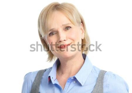 Stockfoto: Zakenvrouw · glimlachend · geïsoleerd · witte · gezicht · werk