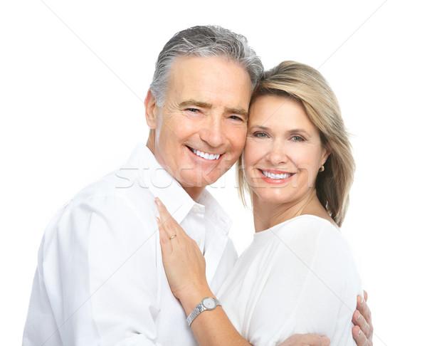 Senioren Paar Liebe isoliert weiß Familie Stock foto © Kurhan